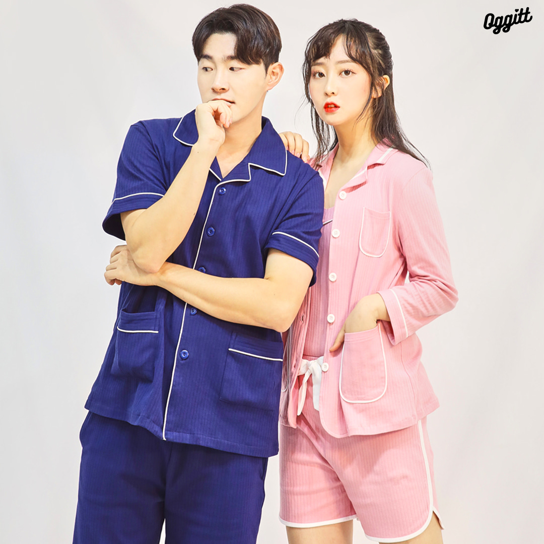 The Homecance Couple wear : Navy Pink Cotton fabric set
