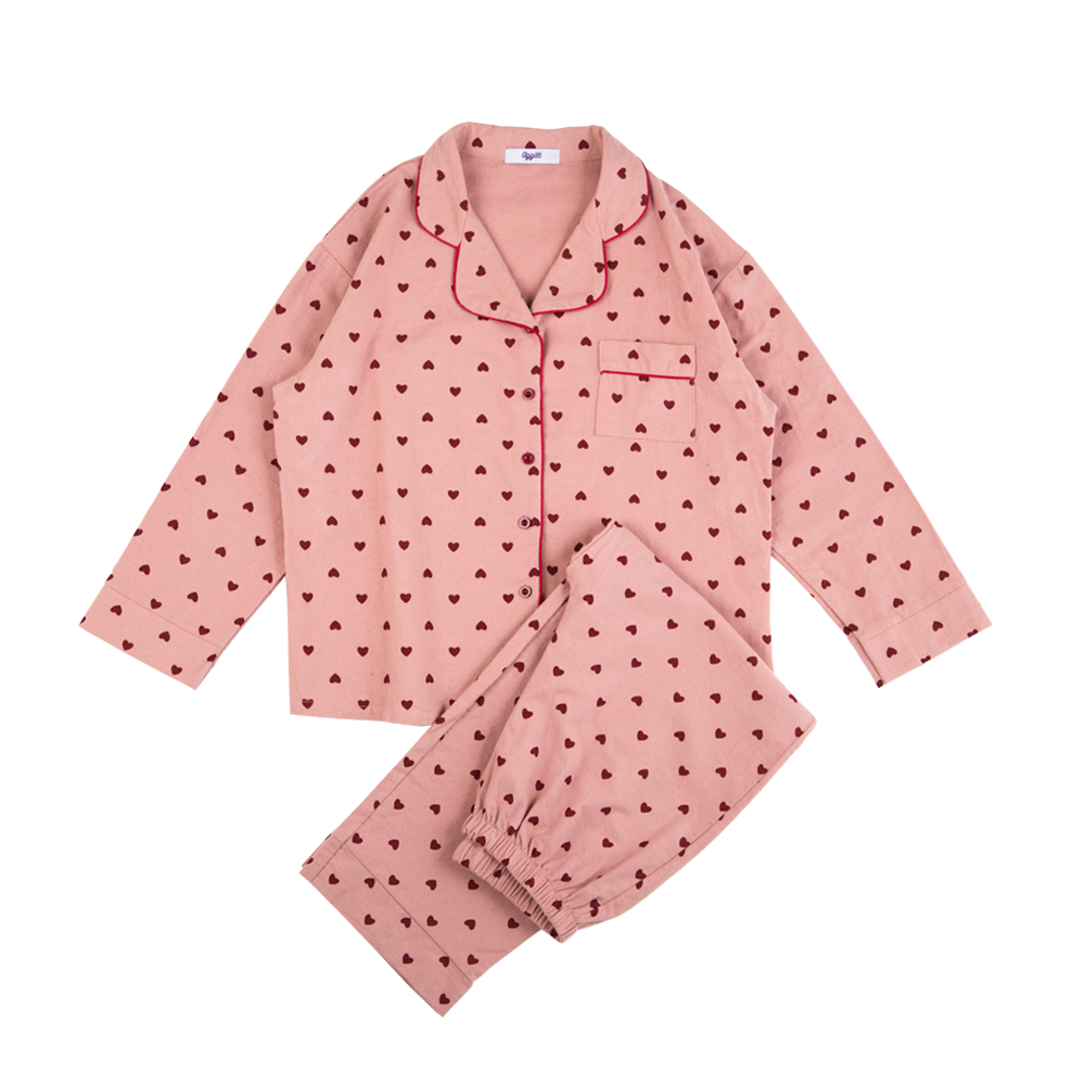 Cotton Classic pajamas : Milk Pink Heart Dot Fluff Cotton