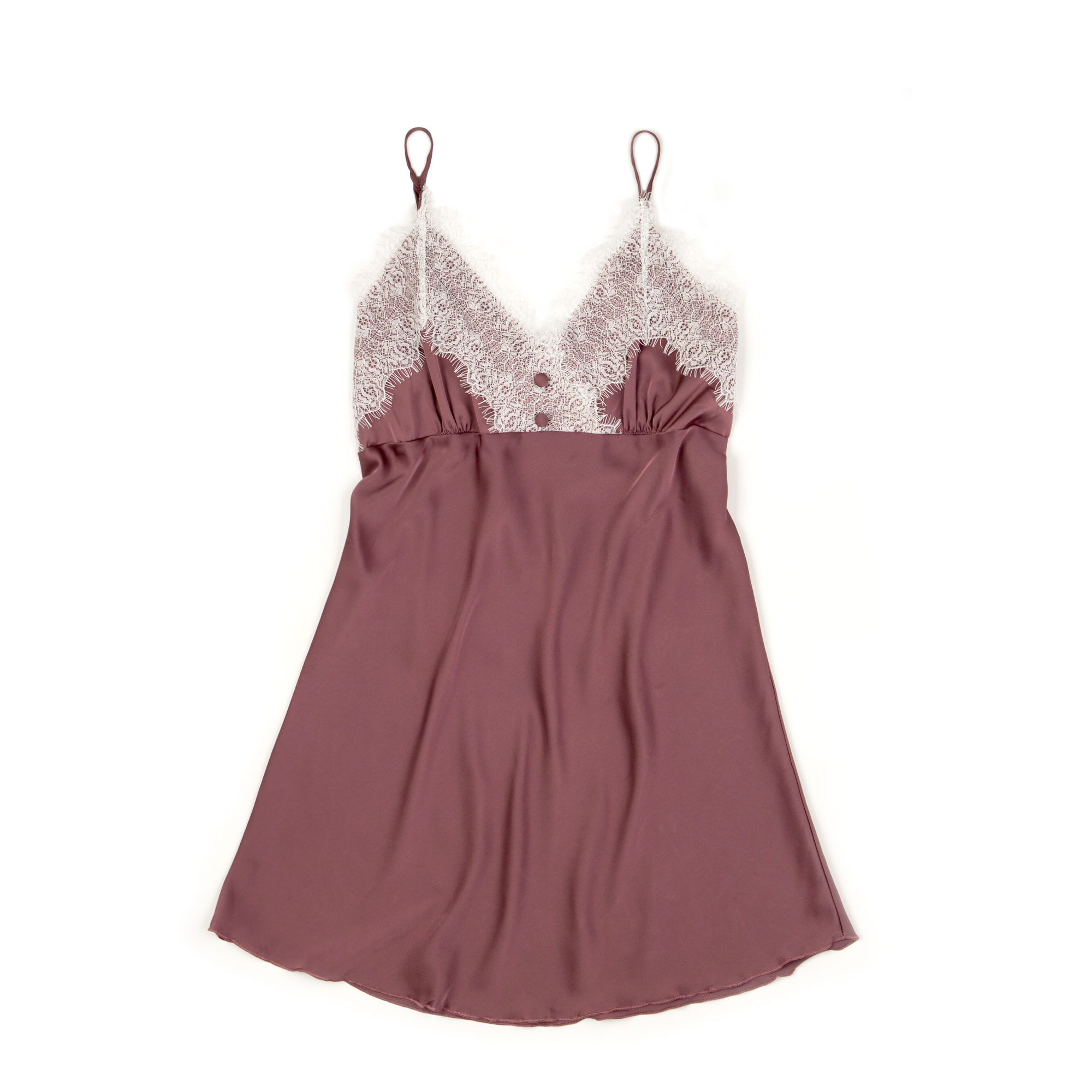 ShaSha Slip Dress : Garnet Pink Double Button Silk